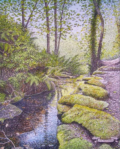 Danescombe Wood, Cornwall - an ink and watercolour by Ian Pethers